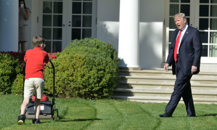 Boy gets his wish to mow White House lawn, doesn't stop for Trump